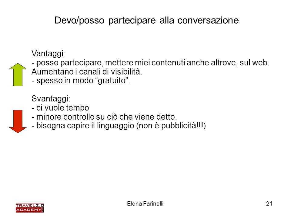 Elena Farinelli21 Vantaggi: - posso partecipare, mettere miei contenuti anche altrove, sul web. Aumentano i canali di visibilità. - spesso in modo gra