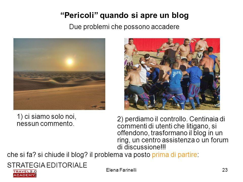 Elena Farinelli23 Pericoli quando si apre un blog Due problemi che possono accadere 1) ci siamo solo noi, nessun commento. 2) perdiamo il controllo. C