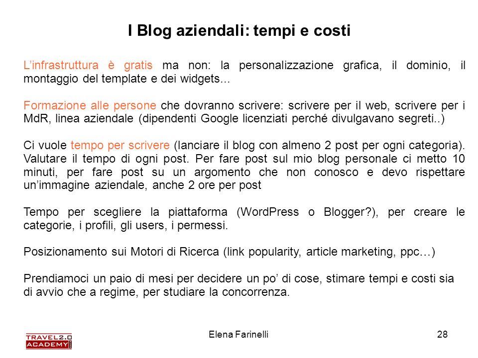 Elena Farinelli28 I Blog aziendali: tempi e costi Linfrastruttura è gratis ma non: la personalizzazione grafica, il dominio, il montaggio del template