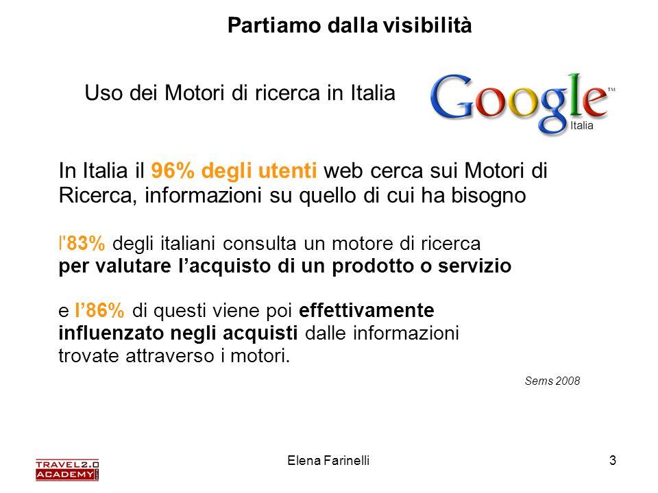 Elena Farinelli3 In Italia il 96% degli utenti web cerca sui Motori di Ricerca, informazioni su quello di cui ha bisogno l'83% degli italiani consulta