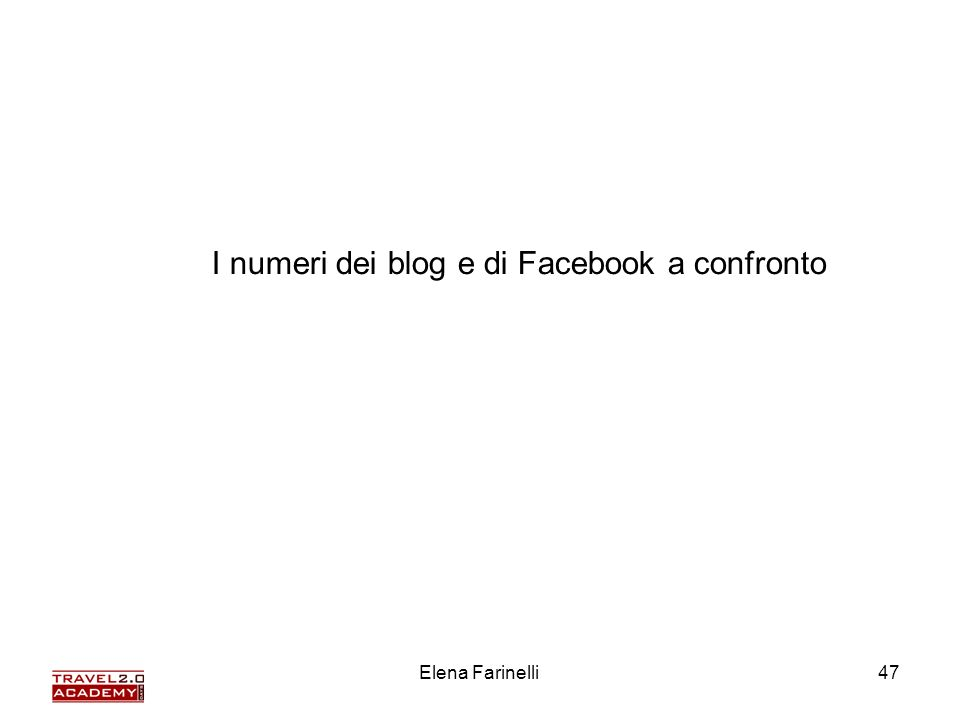 Elena Farinelli47 I numeri dei blog e di Facebook a confronto
