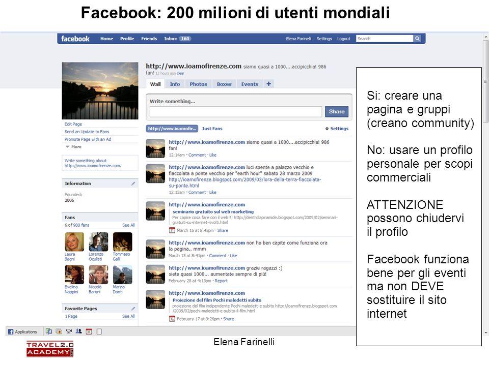 Elena Farinelli50 Si: creare una pagina e gruppi (creano community) No: usare un profilo personale per scopi commerciali ATTENZIONE possono chiudervi
