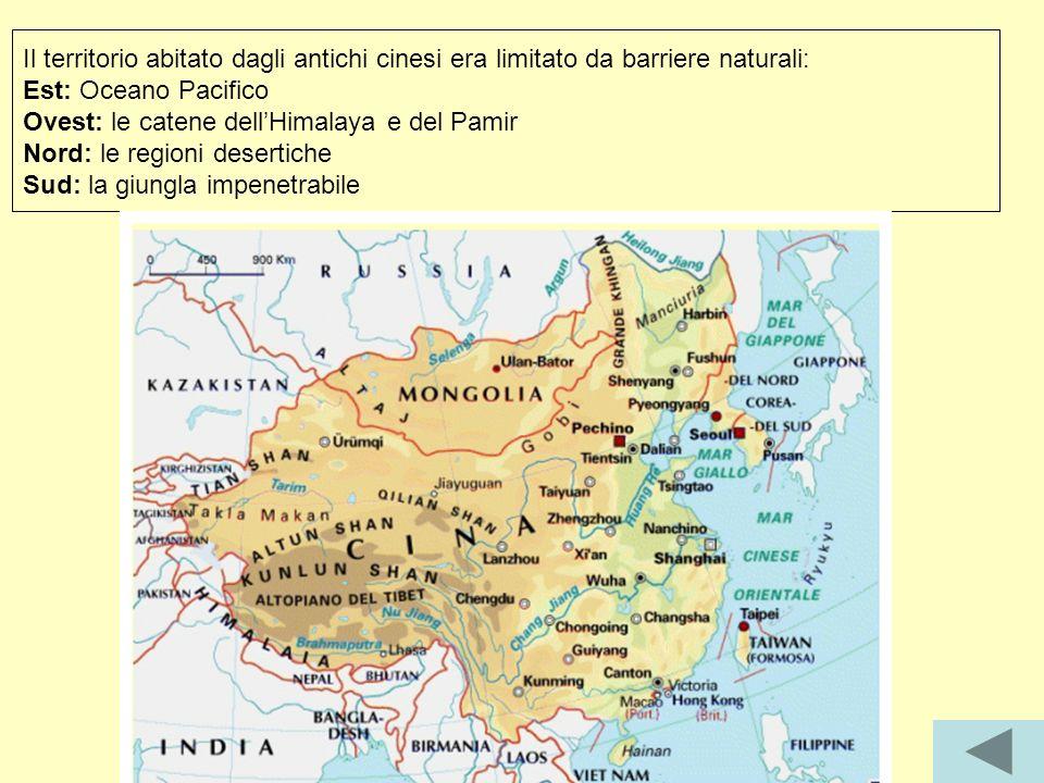 Il territorio abitato dagli antichi cinesi era limitato da barriere naturali: Est: Oceano Pacifico Ovest: le catene dellHimalaya e del Pamir Nord: le