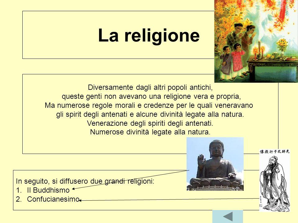 La religione Diversamente dagli altri popoli antichi, queste genti non avevano una religione vera e propria, Ma numerose regole morali e credenze per