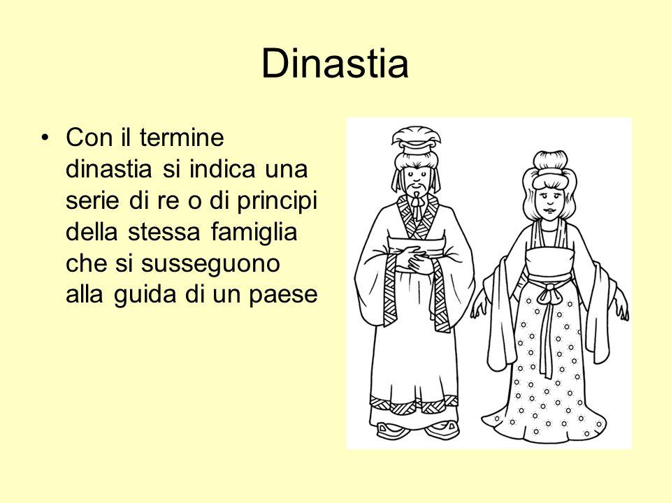 Dinastia Con il termine dinastia si indica una serie di re o di principi della stessa famiglia che si susseguono alla guida di un paese