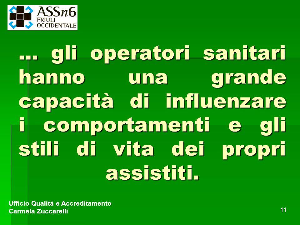11 … gli operatori sanitari hanno una grande capacità di influenzare i comportamenti e gli stili di vita dei propri assistiti. Ufficio Qualità e Accre