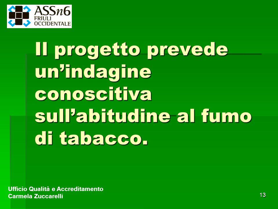 13 Il progetto prevede unindagine conoscitiva sullabitudine al fumo di tabacco. Ufficio Qualità e Accreditamento Carmela Zuccarelli