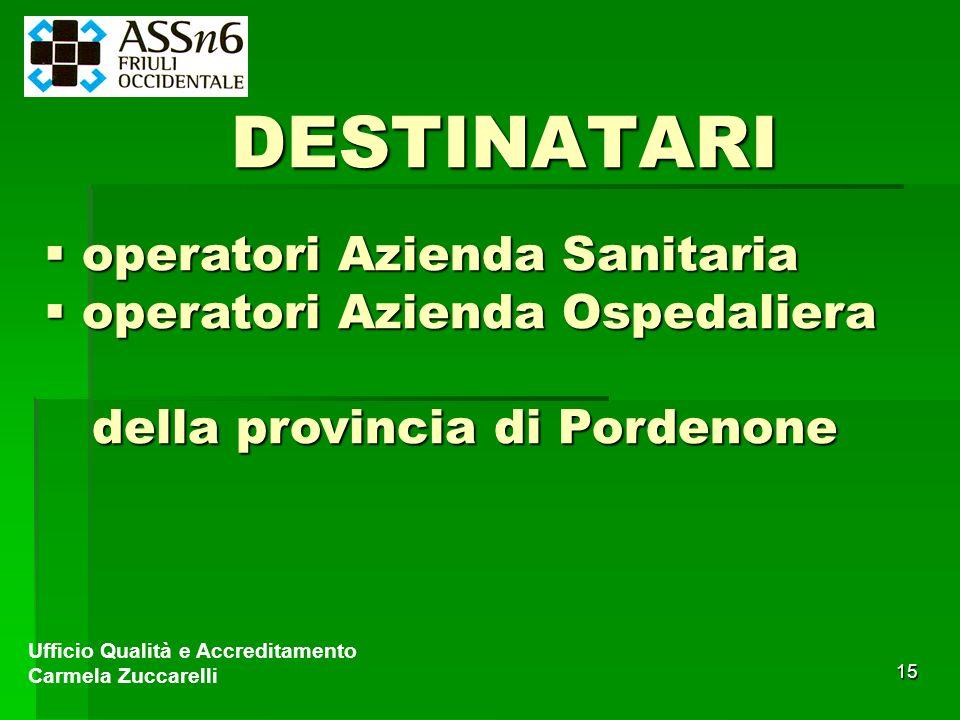 15 Ufficio Qualità e Accreditamento Carmela Zuccarelli DESTINATARI operatori Azienda Sanitaria operatori Azienda Sanitaria operatori Azienda Ospedalie