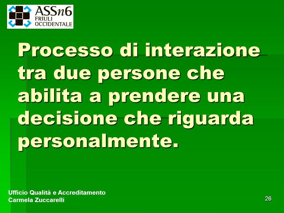 26 Processo di interazione tra due persone che abilita a prendere una decisione che riguarda personalmente. Ufficio Qualità e Accreditamento Carmela Z