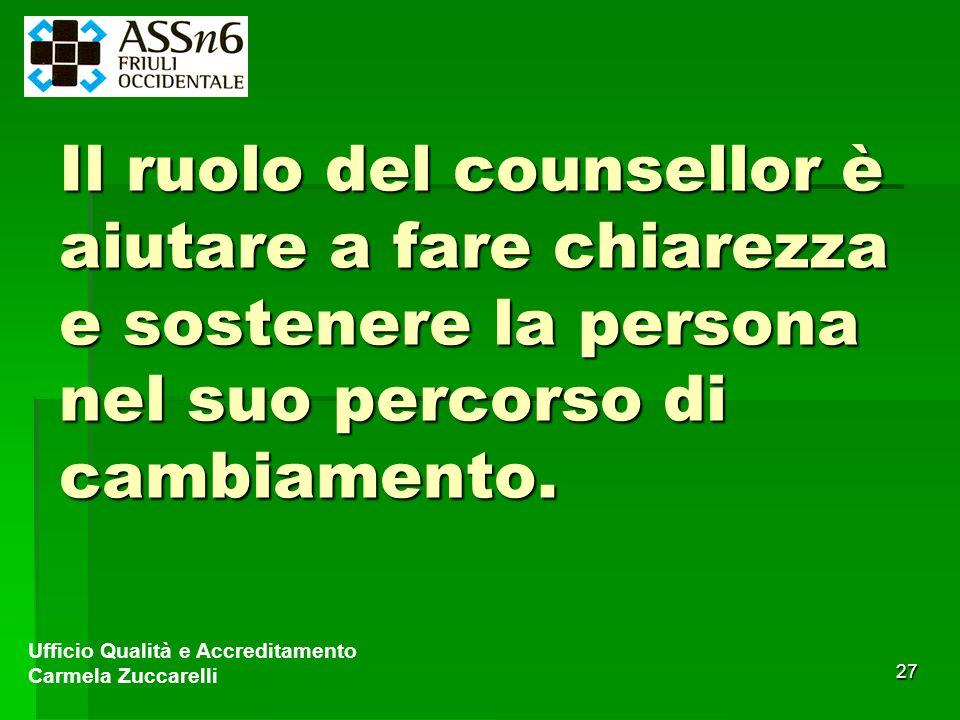 27 Il ruolo del counsellor è aiutare a fare chiarezza e sostenere la persona nel suo percorso di cambiamento. Ufficio Qualità e Accreditamento Carmela