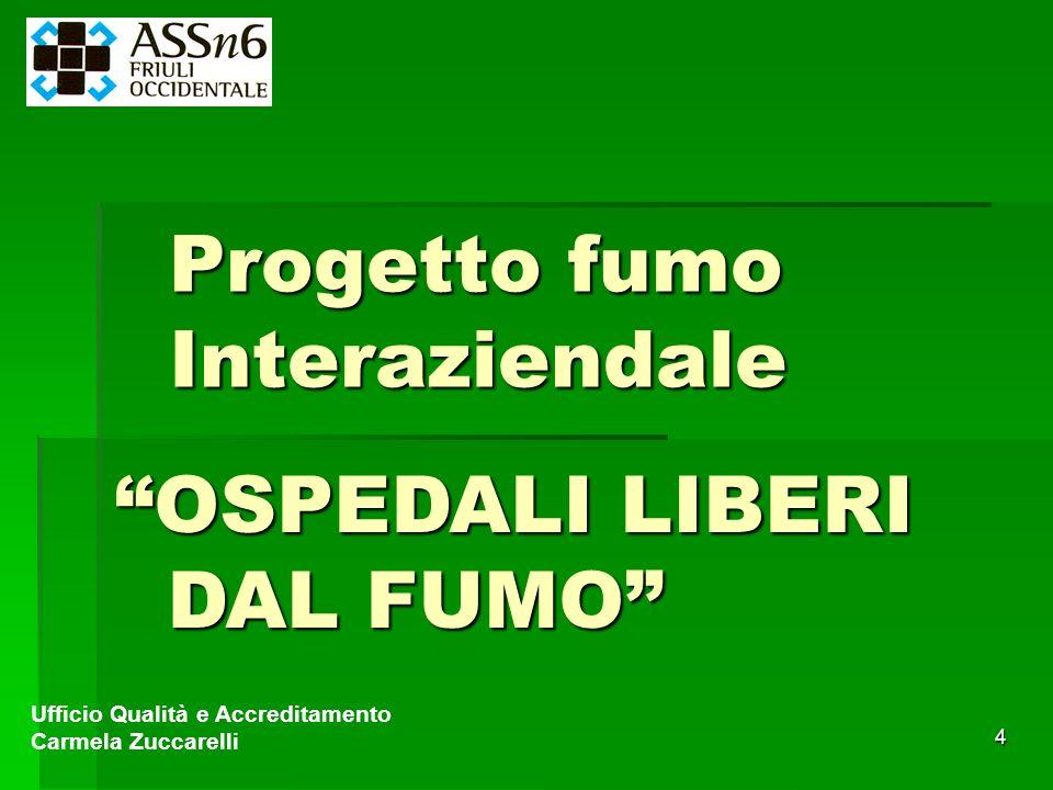 4 Progetto fumo Interaziendale Ufficio Qualità e Accreditamento Carmela Zuccarelli OSPEDALI LIBERI DAL FUMO DAL FUMO