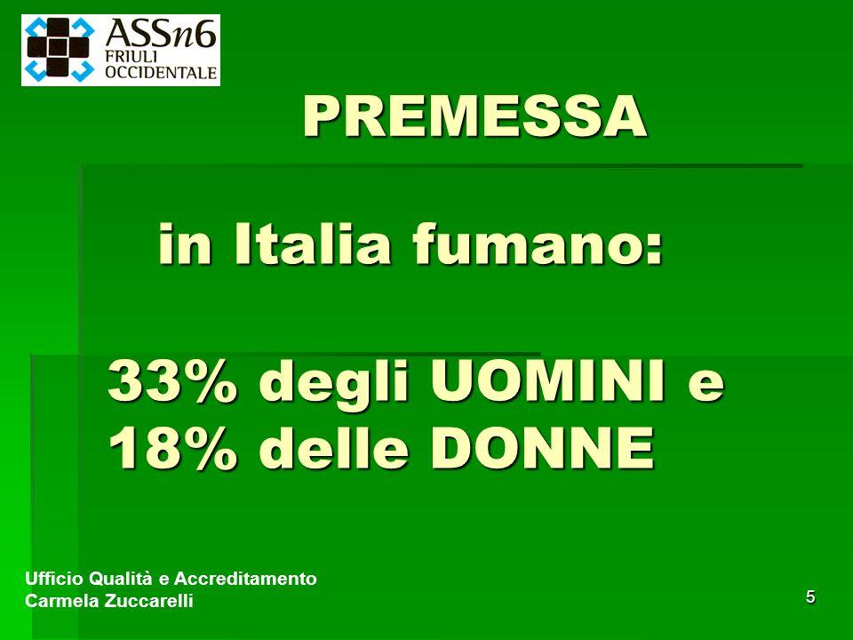 5 in Italia fumano: 33% degli UOMINI e 18% delle DONNE Ufficio Qualità e Accreditamento Carmela Zuccarelli PREMESSA