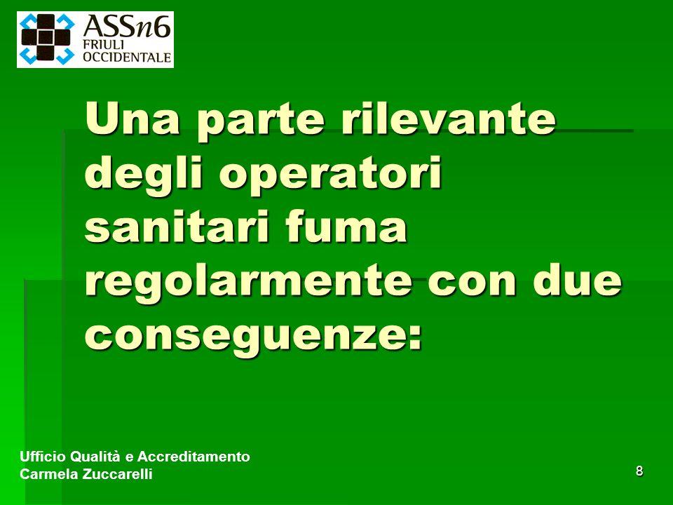 8 Una parte rilevante degli operatori sanitari fuma regolarmente con due conseguenze: Ufficio Qualità e Accreditamento Carmela Zuccarelli