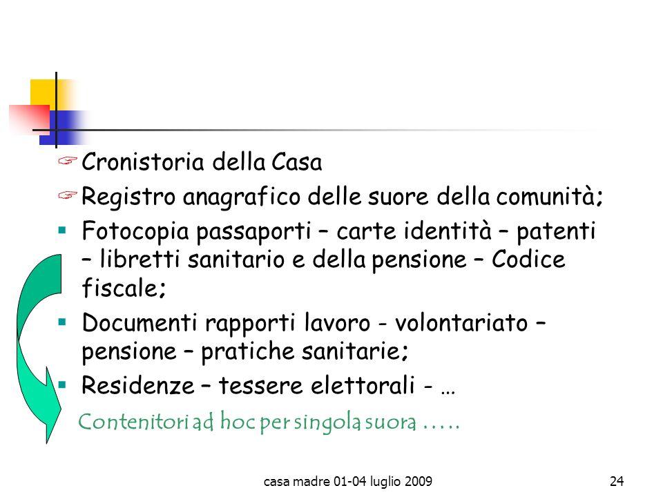 casa madre 01-04 luglio 200924 Cronistoria della Casa Registro anagrafico delle suore della comunità; Fotocopia passaporti – carte identità – patenti
