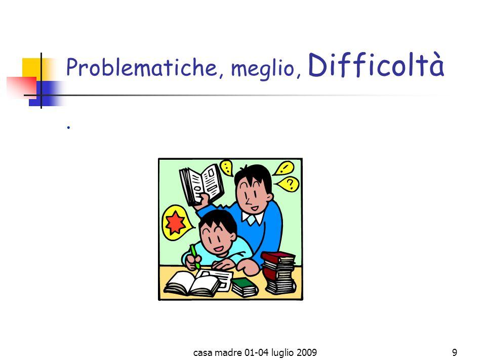 casa madre 01-04 luglio 20099 Problematiche, meglio, Difficoltà.