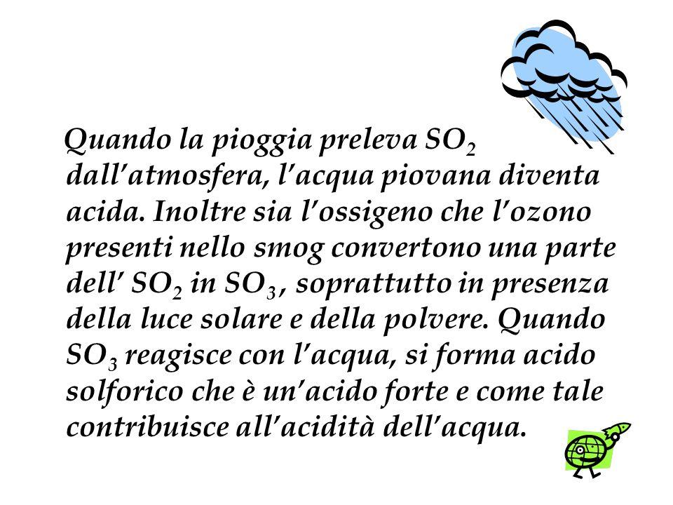 Quando la pioggia preleva SO 2 dallatmosfera, lacqua piovana diventa acida. Inoltre sia lossigeno che lozono presenti nello smog convertono una parte