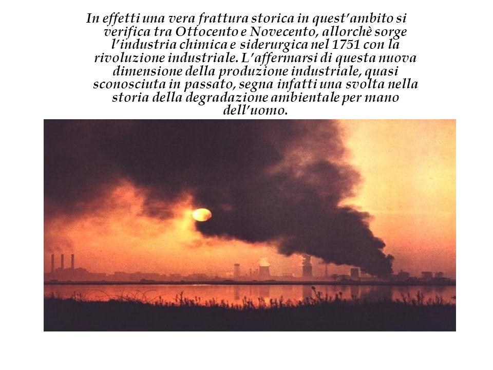 Intanto è la qualità dellinquinamento che cambia:lindustria chimica immette nellambiente veleni creati dalluomo che prima non esistevano.
