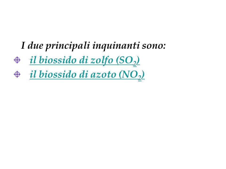 I due principali inquinanti sono: il biossido di zolfo (SO 2 )il biossido di zolfo (SO 2 ) il biossido di azoto (NO 2 )il biossido di azoto (NO 2 )