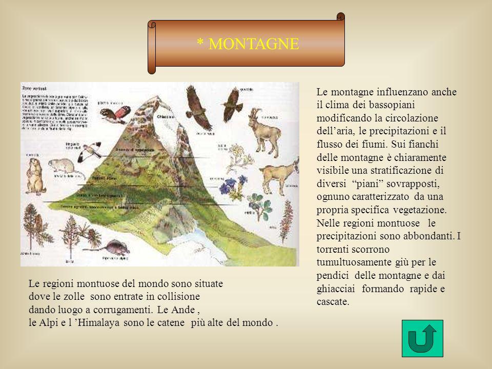 * MONTAGNE Le montagne influenzano anche il clima dei bassopiani modificando la circolazione dellaria, le precipitazioni e il flusso dei fiumi.