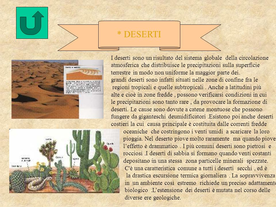 * DESERTI I deserti sono un risultato del sistema globale della circolazione atmosferica che distribuisce le precipitazioni sulla superficie terrestre in modo non uniforme la maggior parte dei.