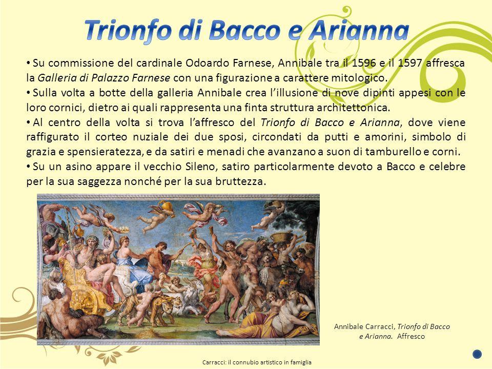 Su commissione del cardinale Odoardo Farnese, Annibale tra il 1596 e il 1597 affresca la Galleria di Palazzo Farnese con una figurazione a carattere mitologico.