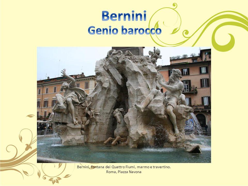 Bernini, Fontana dei Quattro Fiumi, marmo e travertino. Roma, Piazza Navona