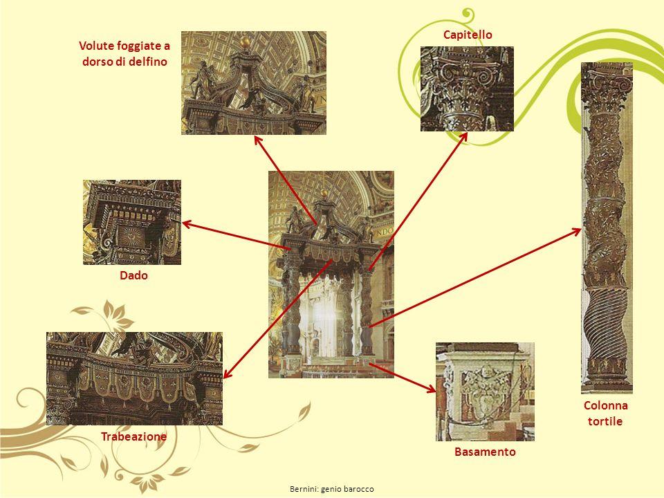Bernini: genio barocco Volute foggiate a dorso di delfino Trabeazione Dado Basamento Colonna tortile Capitello