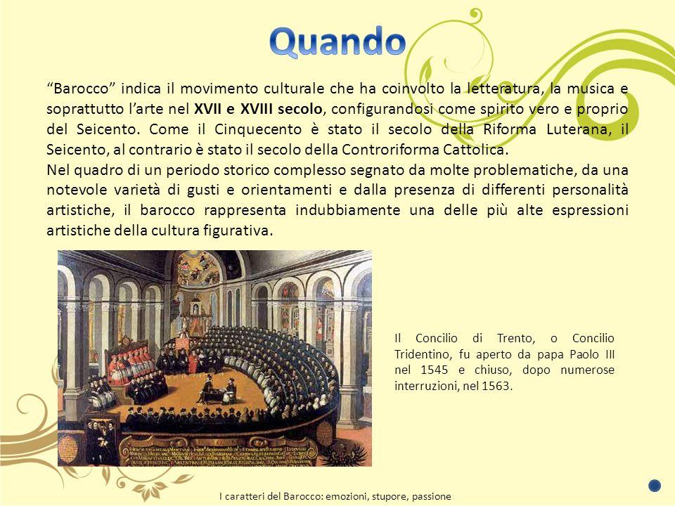 Barocco indica il movimento culturale che ha coinvolto la letteratura, la musica e soprattutto larte nel XVII e XVIII secolo, configurandosi come spirito vero e proprio del Seicento.
