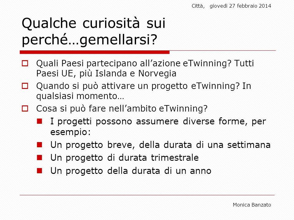 Città,giovedì 27 febbraio 2014 Monica Banzato Qualche curiosità sui perché…gemellarsi.