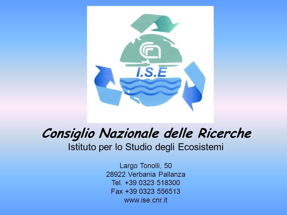 Consiglio Nazionale delle Ricerche Istituto per lo Studio degli Ecosistemi Largo Tonolli, 50 28922 Verbania Pallanza Tel. +39 0323 518300 Fax +39 0323
