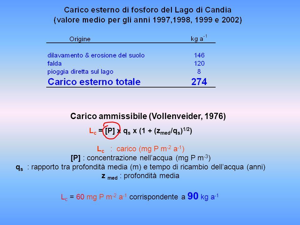 L c = [P] x q s x (1 + (z med /q s ) 1/2 ) L c : carico (mg P m -2 a -1 ) [P] : concentrazione nellacqua (mg P m -3 ) q s : rapporto tra profondità me