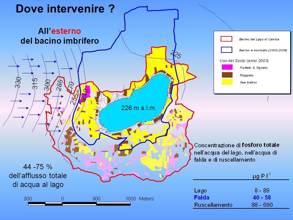 226 m s.l.m. Allesterno del bacino imbrifero Dove intervenire ? 44 -75 % dellafflusso totale di acqua al lago