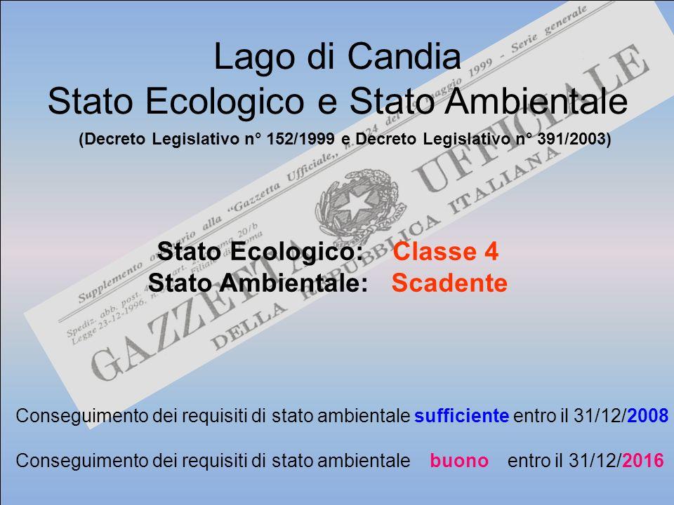 Stato Ecologico: Classe 4 Stato Ambientale: Scadente Lago di Candia Stato Ecologico e Stato Ambientale Conseguimento dei requisiti di stato ambientale
