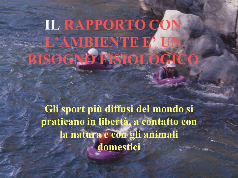 IL RAPPORTO CON LAMBIENTE E UN BISOGNO FISIOLOGICO Gli sport più diffusi del mondo si praticano in libertà, a contatto con la natura e con gli animali domestici