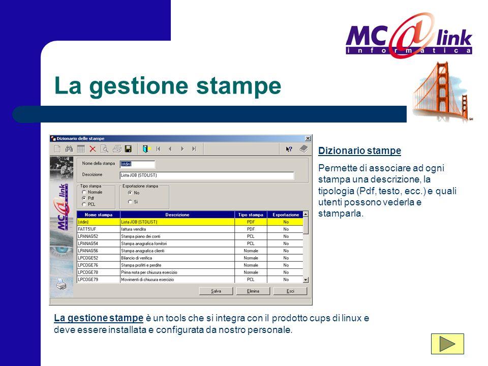 La gestione stampe Dizionario stampe Permette di associare ad ogni stampa una descrizione, la tipologia (Pdf, testo, ecc.) e quali utenti possono vederla e stamparla.