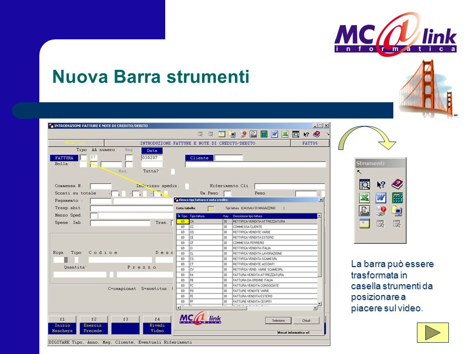 Funzionalità della barra Quali sono le funzioni standard aggiunte alla barra.