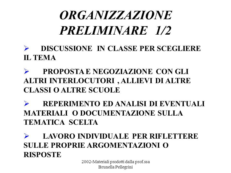 2002-Materiali prodotti dalla prof.ssa Brunella Pellegrini ORGANIZZAZIONE PRELIMINARE 1/2 DISCUSSIONE IN CLASSE PER SCEGLIERE IL TEMA PROPOSTA E NEGOZIAZIONE CON GLI ALTRI INTERLOCUTORI, ALLIEVI DI ALTRE CLASSI O ALTRE SCUOLE REPERIMENTO ED ANALISI DI EVENTUALI MATERIALI O DOCUMENTAZIONE SULLA TEMATICA SCELTA LAVORO INDIVIDUALE PER RIFLETTERE SULLE PROPRIE ARGOMENTAZIONI O RISPOSTE