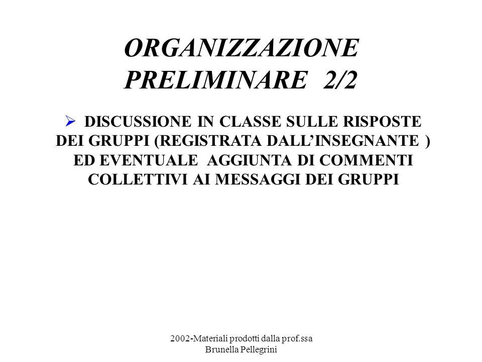 2002-Materiali prodotti dalla prof.ssa Brunella Pellegrini ORGANIZZAZIONE PRELIMINARE 2/2 DISCUSSIONE IN CLASSE SULLE RISPOSTE DEI GRUPPI (REGISTRATA