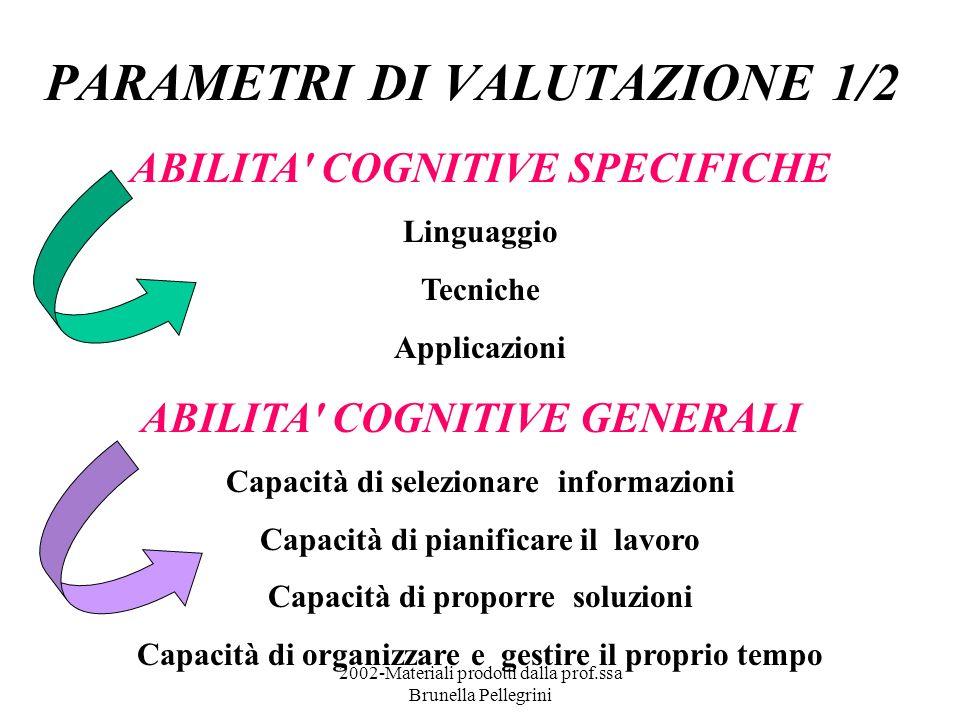 2002-Materiali prodotti dalla prof.ssa Brunella Pellegrini PARAMETRI DI VALUTAZIONE 1/2 ABILITA' COGNITIVE SPECIFICHE Linguaggio Tecniche Applicazioni