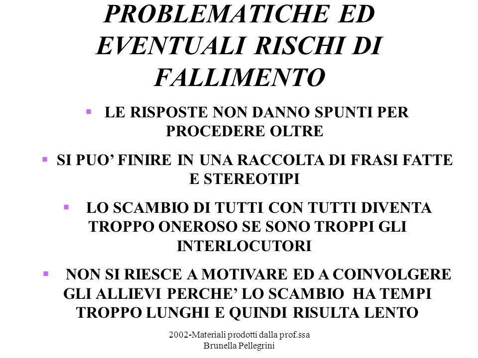 2002-Materiali prodotti dalla prof.ssa Brunella Pellegrini PROBLEMATICHE ED EVENTUALI RISCHI DI FALLIMENTO LE RISPOSTE NON DANNO SPUNTI PER PROCEDERE OLTRE SI PUO FINIRE IN UNA RACCOLTA DI FRASI FATTE E STEREOTIPI LO SCAMBIO DI TUTTI CON TUTTI DIVENTA TROPPO ONEROSO SE SONO TROPPI GLI INTERLOCUTORI NON SI RIESCE A MOTIVARE ED A COINVOLGERE GLI ALLIEVI PERCHE LO SCAMBIO HA TEMPI TROPPO LUNGHI E QUINDI RISULTA LENTO