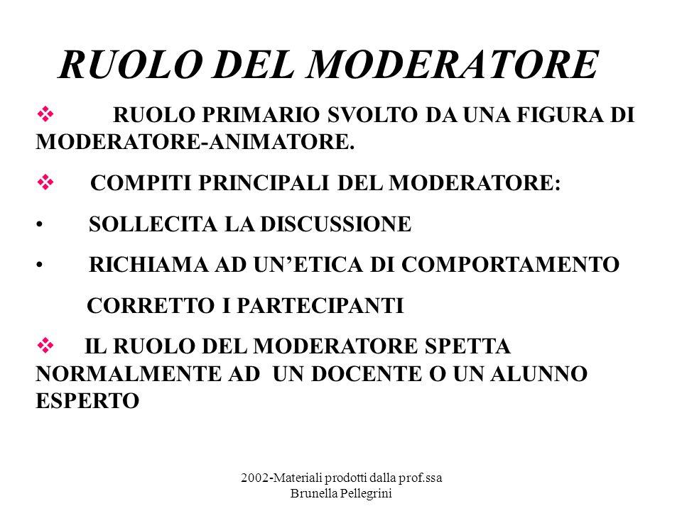 2002-Materiali prodotti dalla prof.ssa Brunella Pellegrini RUOLO DEL MODERATORE RUOLO PRIMARIO SVOLTO DA UNA FIGURA DI MODERATORE-ANIMATORE. COMPITI P