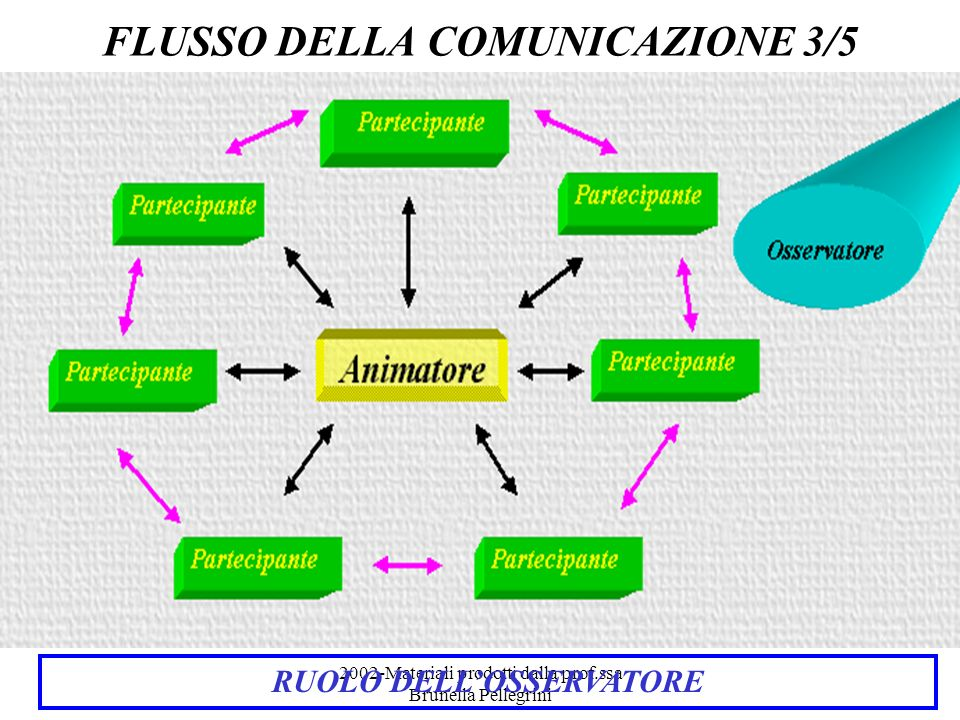 2002-Materiali prodotti dalla prof.ssa Brunella Pellegrini RUOLO DELLOSSERVATORE DIDATTICAMENTE MOLTO VALIDO OSSERVA LANDAMENTO DEL FLUSSO COMUNICATIVO ANALIZZA LA FORMAZIONE DI COPPIE DI INTERLOCUTORI REGISTRA ED ANALIZZA IL LISTATO DELLA CONVERSAZIONE