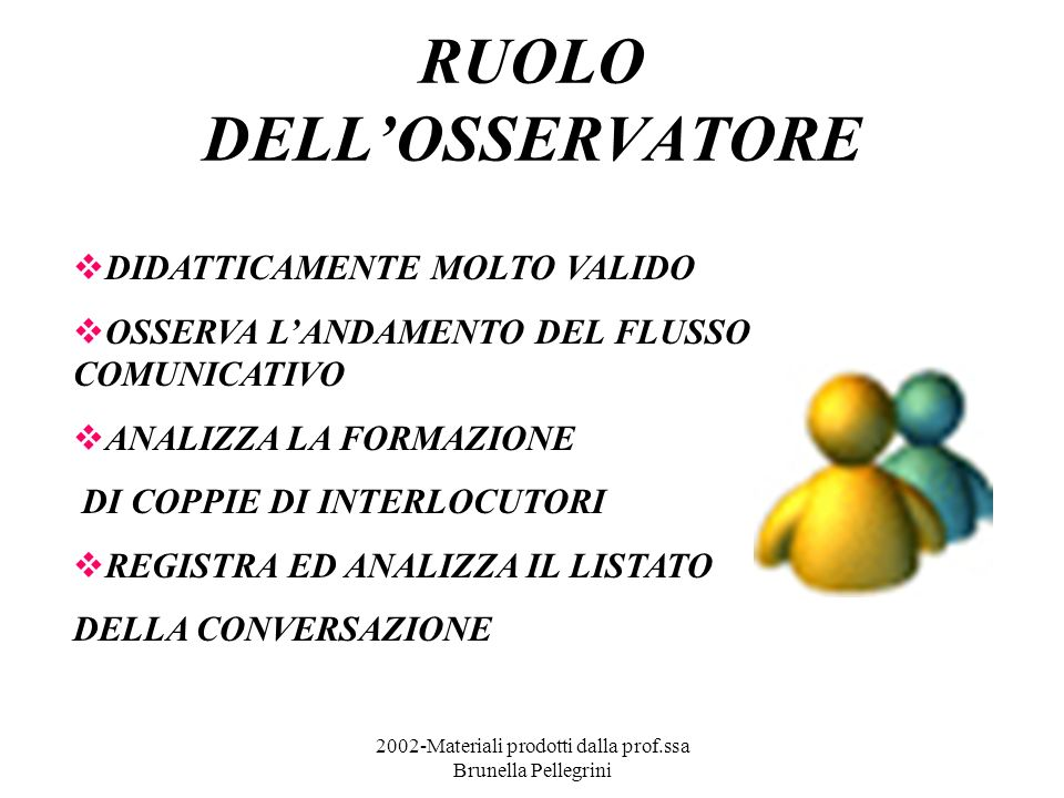 2002-Materiali prodotti dalla prof.ssa Brunella Pellegrini RUOLO DELLOSSERVATORE DIDATTICAMENTE MOLTO VALIDO OSSERVA LANDAMENTO DEL FLUSSO COMUNICATIV