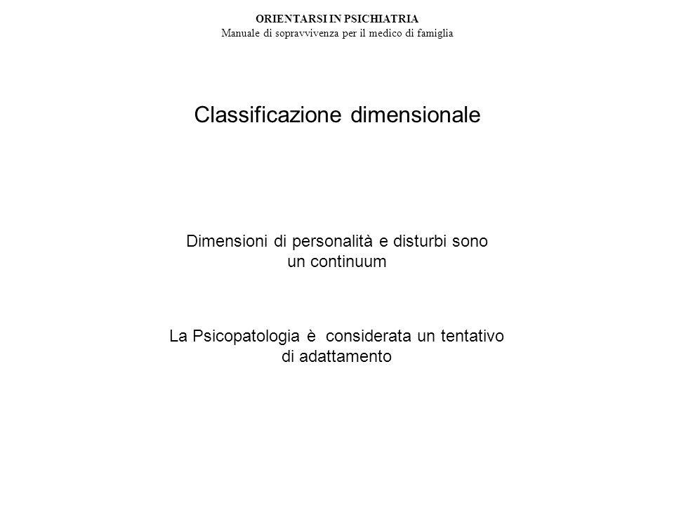 Classificazione dimensionale Psicopatologia come adattamento mancato Dimensioni di personalità e disturbi sono un continuum La Psicopatologia è considerata un tentativo di adattamento ORIENTARSI IN PSICHIATRIA Manuale di sopravvivenza per il medico di famiglia