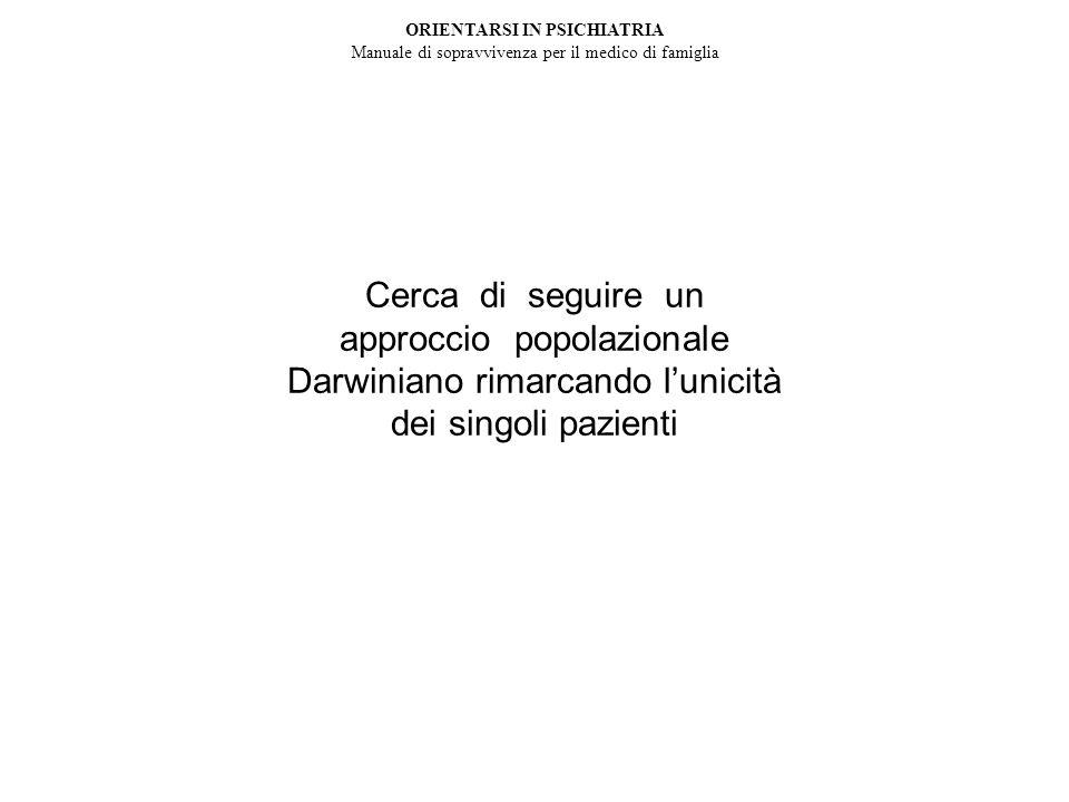 Cerca di seguire un approccio popolazionale Darwiniano rimarcando lunicità dei singoli pazienti ORIENTARSI IN PSICHIATRIA Manuale di sopravvivenza per il medico di famiglia