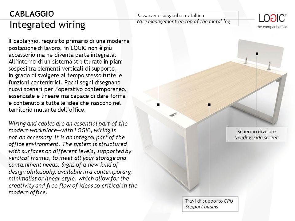 Il cablaggio, requisito primario di una moderna postazione di lavoro, in LOGIC non è più accessorio ma ne diventa parte integrata.