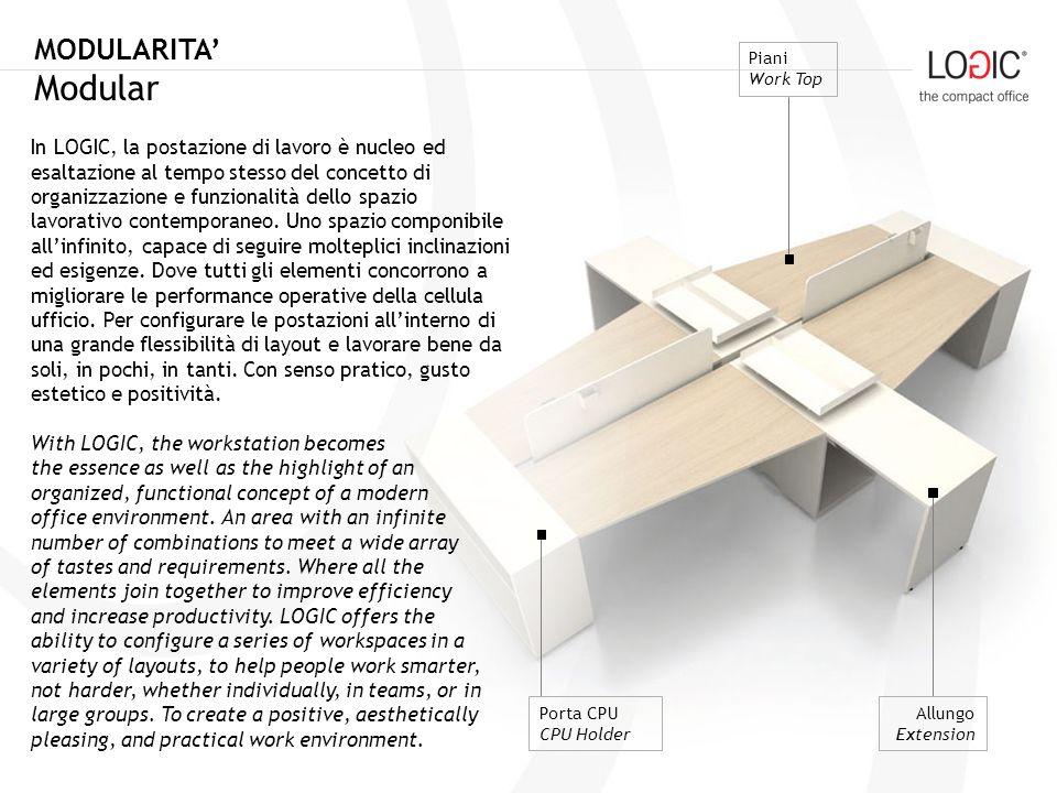 COMPATTEZZA Compact PIANI Per rifinire la tua postazione di lavoro, abbiamo dotato lambiente LOGIC di piani con forme diverse, orizzontali, delta e workstation, in grado di modulare perfettamente tutte le esigenze.