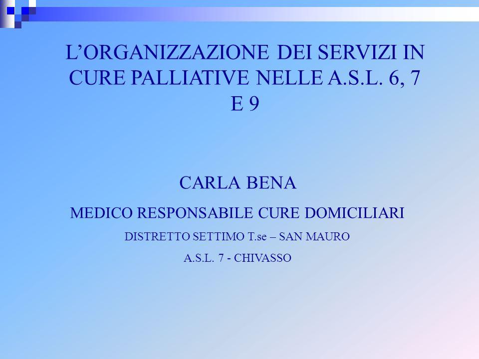 LORGANIZZAZIONE DEI SERVIZI IN CURE PALLIATIVE NELLE A.S.L. 6, 7 E 9 CARLA BENA MEDICO RESPONSABILE CURE DOMICILIARI DISTRETTO SETTIMO T.se – SAN MAUR