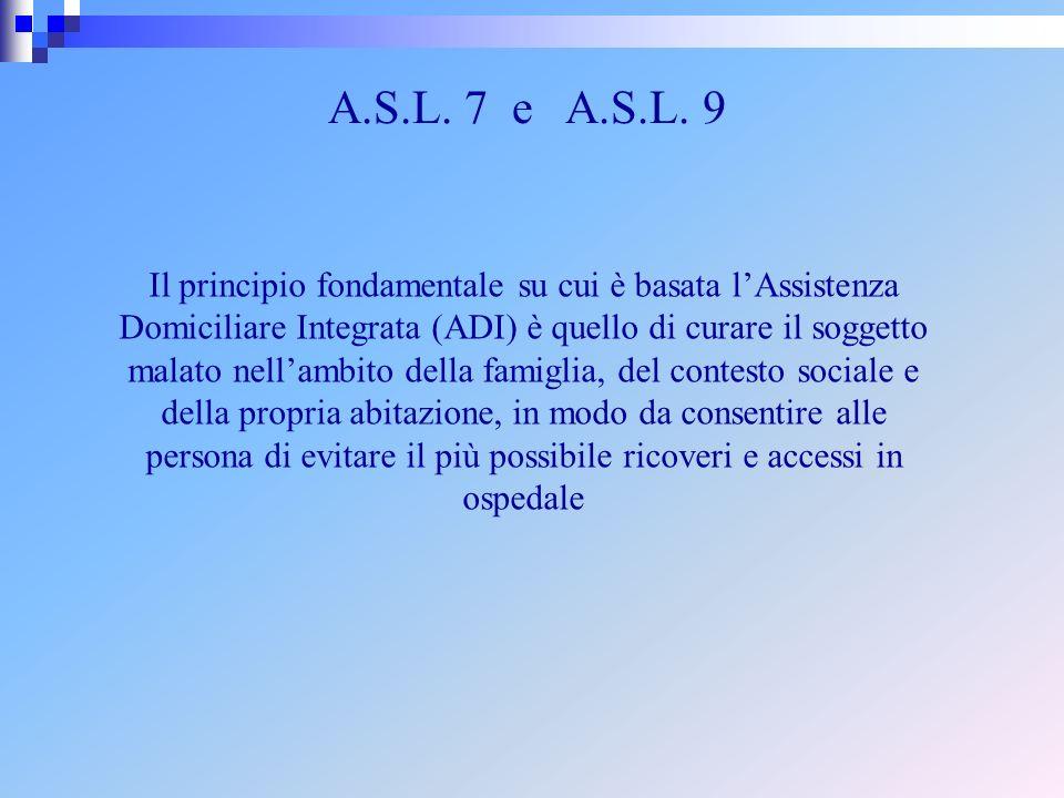 A.S.L. 7 e A.S.L. 9 Il principio fondamentale su cui è basata lAssistenza Domiciliare Integrata (ADI) è quello di curare il soggetto malato nellambito