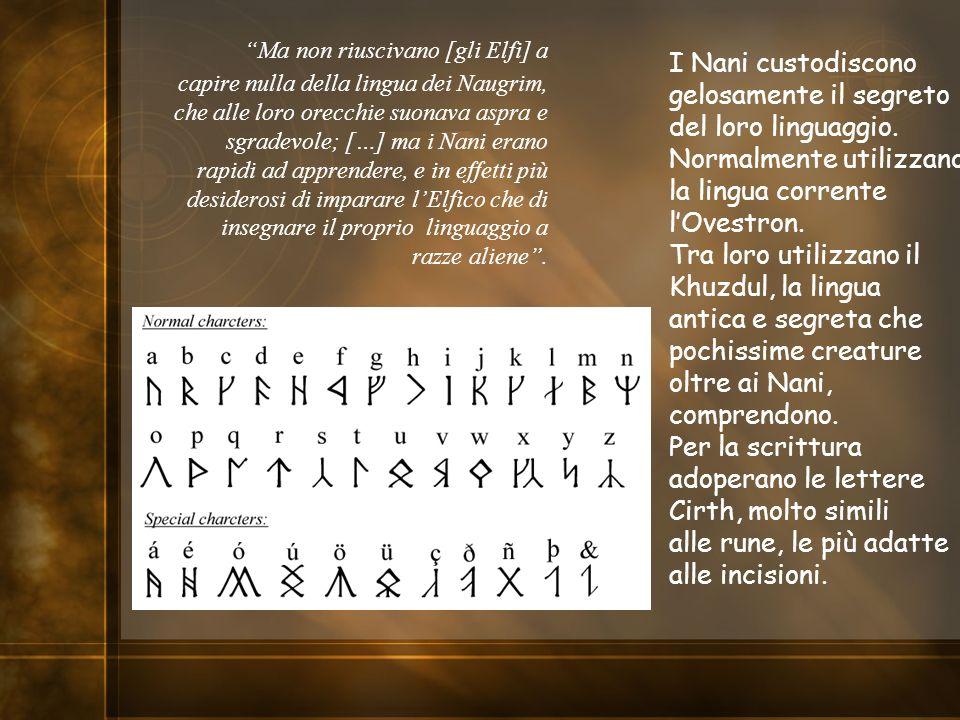 Ma non riuscivano [gli Elfi] a capire nulla della lingua dei Naugrim, che alle loro orecchie suonava aspra e sgradevole; […] ma i Nani erano rapidi ad